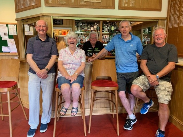 Happy members: from left, Mark Lockley, Ann Pedder, steward Terry Lealen, Bob Guard and John Hounsome